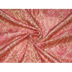 100% Pure Silk Brocade Fabric Pale Pink & Shocking Pink 44""