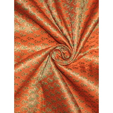 Pretty Silk Brocade Fabric Orange,Green & Metallic Gold 44""
