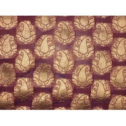 Pretty Silk Brocade Fabric Dark Aubergine & Antique Metallic Gold semi sheer