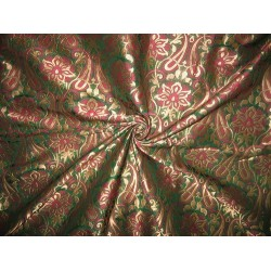 Pure Silk Brocade Fabric Metallic Antique Gold,Pink & Green