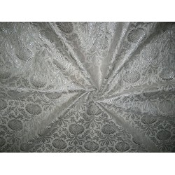 Silk Brocade Fabric Metallic Silver & Ivory color
