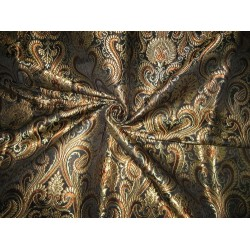 Pure Heavy Silk Brocade Fabric Black,Brown&Metalic Gold