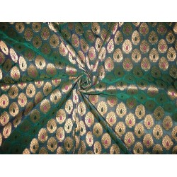 Silk Brocade Fabric Peacock Green & Metallic Gold