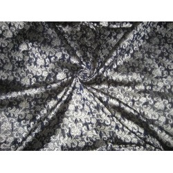 Silk Brocade Fabric Navy Blue & Metallic Silver