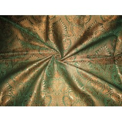 Silk Brocade Fabric Green & Metallic Gold