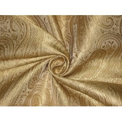100% Pure Silk Brocade fabric Gold Colour