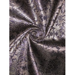 100% Pure Silk Brocade fabric Navy Blue,Black & Metallic Gold Colour