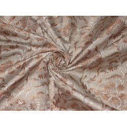 100% Pure Silk Brocade fabric Brown,Beige & Cream Colour
