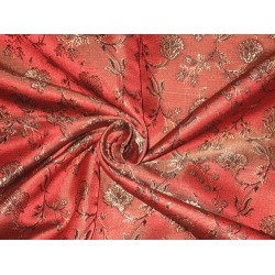 100% Pure Silk Brocade fabric Rust,Bronze & Black Colour