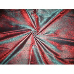 100% Pure Silk Brocade Vestment Fabric Green & Orangeish Red
