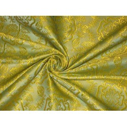 100% Pure SILK BROCADE FABRIC Yellow 44""