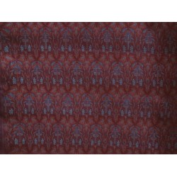 100% Pure Silk Brocade Vestment Fabric Rust,Blue & Maroon color