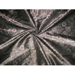 "Silk Brocade fabric Black,Grey & Aubergine Colour 44""BRO21[6]"
