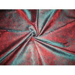100% Pure Silk Brocade fabric Teal Green & Rusty Red Colour