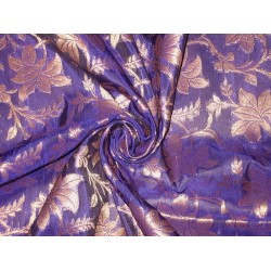 100% Pure Silk Brocade Fabric Purple & Metallic Antique Gold 44""