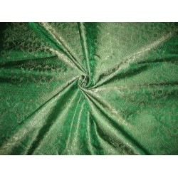 "Pure SILK BROCADE FABRIC Emerald Green colour 44"" Vestment design"