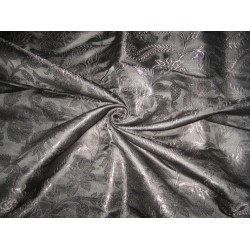 "Heavy Pure Silk Brocade Fabric Jet Black colour 36"" wide sold by the yard"