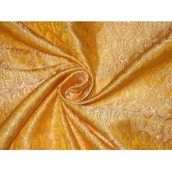 100% Pure Silk Brocade Vestment Fabric Golden yellow and cream