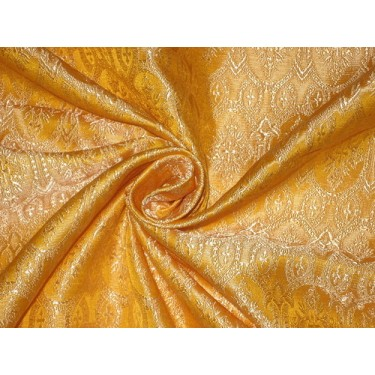 Silk Brocade Vestment Fabric Golden yellow and cream