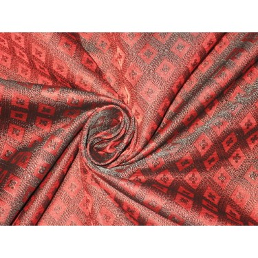 "Silk Brocade fabric Dark Red & Black 44""BRO154[4]"