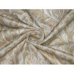 Pure Heavy Silk Brocade Fabric Ivory,Cream & Metalic Gold