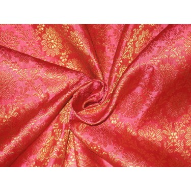 Spun Silk Brocade Fabric Hot Pink & Metallic Gold 44""