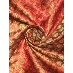 Spun Silk Brocade Fabric Wine Red,Green & Metallic Gold 44""