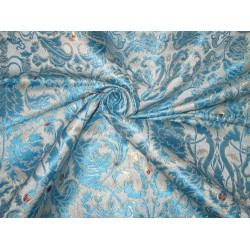 Pure Heavy Silk Brocade Fabric Blue,Red,Cream & Gold