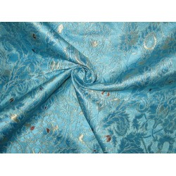 Pure Heavy Silk Brocade Fabric Blue,Red & Gold
