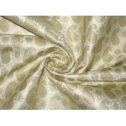 Pure Silk Brocade Fabric Cream & Gold color 44""