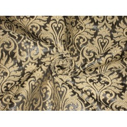 "Pure Silk brocade fabric Metallic steel dark grey & Golden Cream color 44"" bro156[7]"