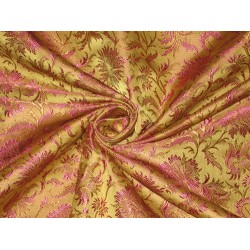 Pure Silk brocade fabric Olive Green,Brown & Pink color 44""