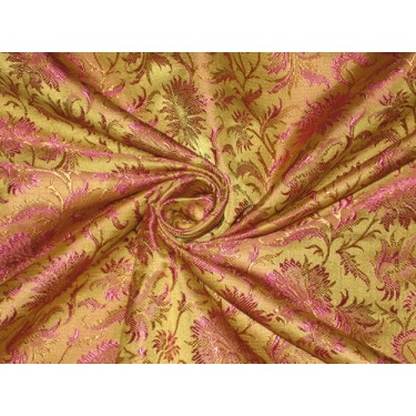 Silk brocade fabric Olive Green,Brown & Pink color 44""