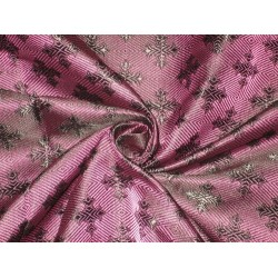 "Pure SILK BROCADE FABRIC Purple & Black colour 44"" Vestment design"