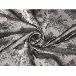 "Pure SILK BROCADE FABRIC Black & Grey colour 44"" Vestment design"