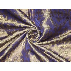 "Pure SILK BROCADE FABRIC Light Purple & Gold colour 44"" Vestment design"