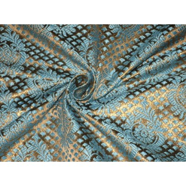SPUN /BANANA FIBRE BROCADE FABRIC Blue & Metallic GOLD