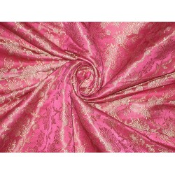 SILK BROCADE FABRIC Hot Pink & Gold color 44""