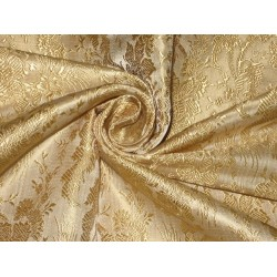 Silk Brocade Fabric Light Gold Victorian 44""