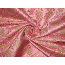 Pure SILK BROCADE FABRIC Red/Pink & Gold 44""