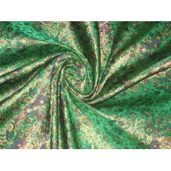 Pure Silk Brocade Fabric Green & Gold floral design 44""