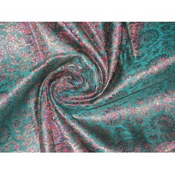 Pure Silk brocade fabric Green,Pink,Purple & Gold
