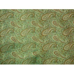 Pure Silk brocade fabric Sea green & Gold 44""