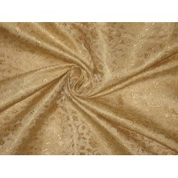 100% Pure Silk Brocade Fabric pure Gold on Gold color