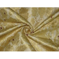 Pure Heavy Silk Brocade Fabric Metalic Gold,Red & Cream