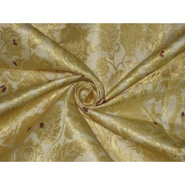Heavy Silk Brocade Fabric Metallic Gold,Red & Cream