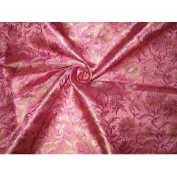 "Pure Silk Brocade Fabric Width 44"" purple color"