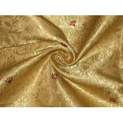 Pure Heavy Silk Brocade Fabric Metalic Gold,Red & Gold