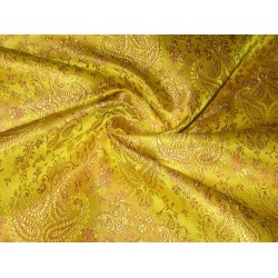 Pure Silk Brocade Fabric Dark Lime Yellow & Dark Salmon