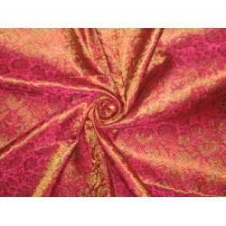 Pure SILK BROCADE FABRIC Hot Pink,orange & Green 44""